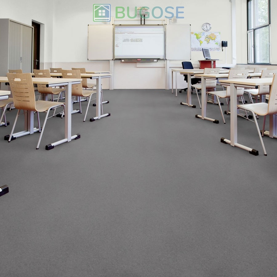 Sheet Vinyl Commercial Flooring Forbo Sphera Element Collection Anthracite 50006 Education School Scene 1