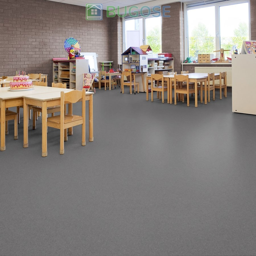 Sheet Vinyl Commercial Flooring Forbo Sphera Element Collection Anthracite 50006 Education School Scene 5