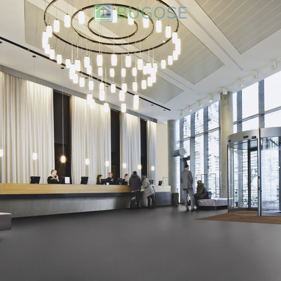 Sheet Vinyl Commercial Flooring Forbo Sphera Element Collection Anthracite 50006 Hospitality Scene 6